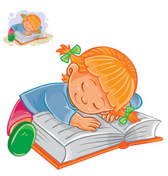 Little girl reading a book and falling vector
