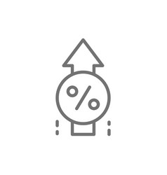 Loan interest rate increase line icon vector