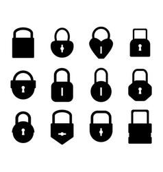 Lock silhouette black padlock shapes for logo vector