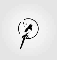 magpie bird negative space logo vector image