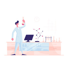 Man scientist wearing white coat holding beaker vector