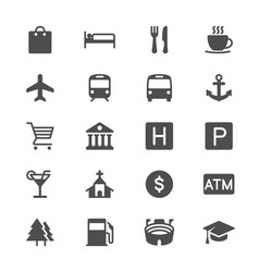 map and location glyph icons vector image