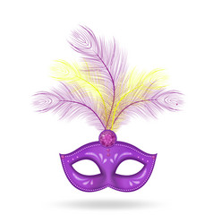 mardi gras mask icon realistic 3d style mask vector image
