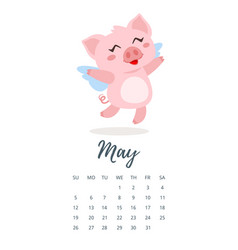 May 2019 year calendar page vector
