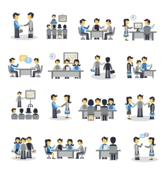 Meeting icons flat set vector