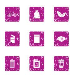 metal trash icons set grunge style vector image