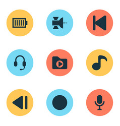 music icons set with satellite dossier record vector image
