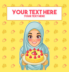 Muslim woman holding a plate of dessert vector