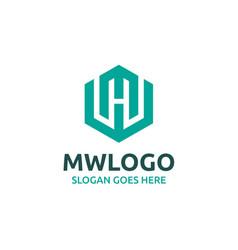 Mw letter logo design vector