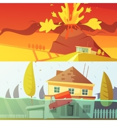 Natural disaster banners vector