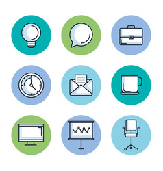 office stationery equipment supplies icon set vector image