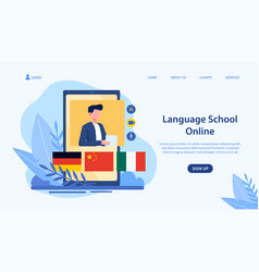 Online language school concept and landing page vector