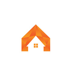 orange low poly house real estate vector image