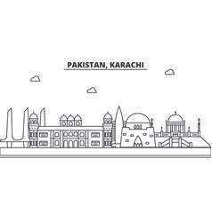 Pakistan karachi architecture line skyline vector