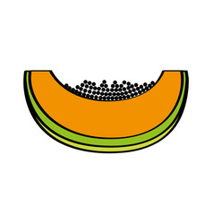 papaya fresh fruit drawing icon vector image