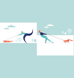 pet owners with dog on leash vector image