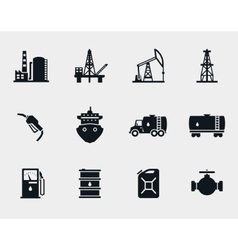 Petroleum and oil icons set vector