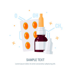 pharmacy bottle and pills concept in flat style vector image