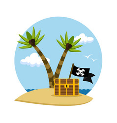 pirate treasure chest on a tropical beach vector image