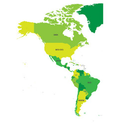political map of americas in four shades of green vector image
