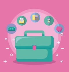 portfolio with economy and financial icons vector image