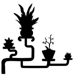 Potted plants corner decoration silhouette design vector