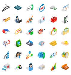 presentation icons set isometric style vector image