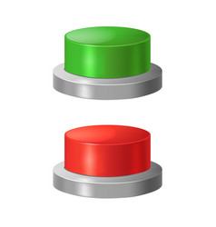 realistic detailed 3d red and green buttons vector image vector image