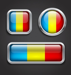 Romania flag glass buttons vector image