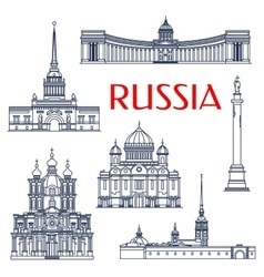 Russian architectural attractions thin line icons vector