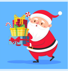 Santa claus carry gifts stack christmas gift box vector