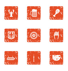 Sea grill icons set grunge style vector