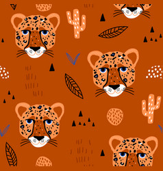 Seamless african pattern with cheteah heads jangle vector