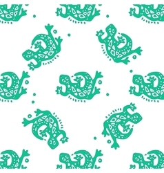 Seamless pattern with lizards tribal vector
