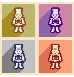 Set flat icons with long shadow Nutcracker boy vector