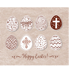 set hand-drawn ornated easter eggs on vintage vector image