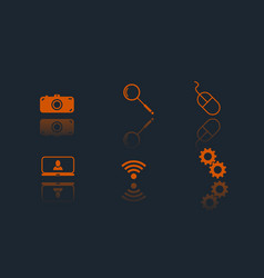 set of 6 web flat icons vector image