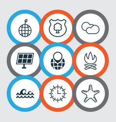 set of 9 eco-friendly icons includes sun clock vector image