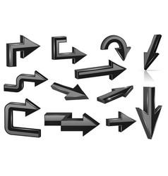 set of black arrows shiny 3d web icons vector image