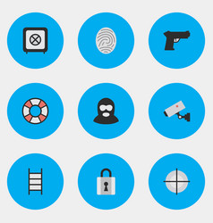 set of simple criminal icons vector image