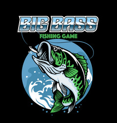 shirt design catching big bass fish vector image