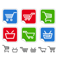 shopping cart and basket icons vector image