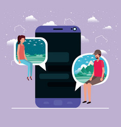 smartphone with couple seated in speech bubble vector image