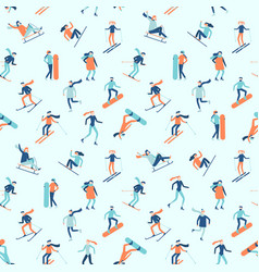 snowboarding and skiing seamless pattern winter vector image