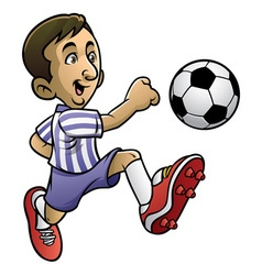 Soccer player playing the ball vector