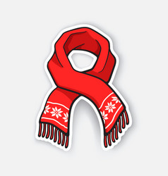 sticker red winter scarf with snowflake pattern vector image