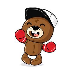 Teddy brown bear boxing cartoon vector