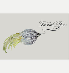 thank you card with blue flower vector image