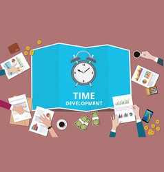Time to management concept with business man team vector