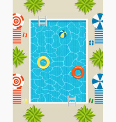 top view of pool with sun loungers and umbrellas vector image